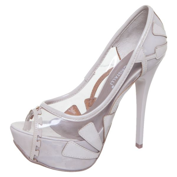c986762b9f Peep toe meia pata branco transparente - Casual collection
